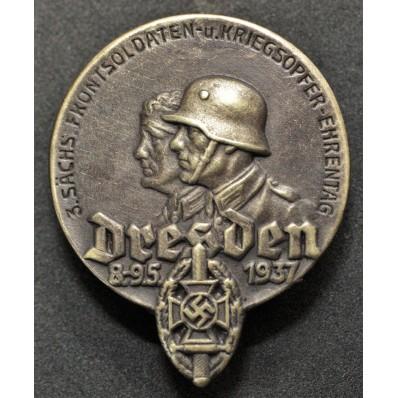 """Blechabzeichen """"3.Sächs. Frontsoldaten - und Kriegsopfer Ehrentag Dresden 1937"""""""